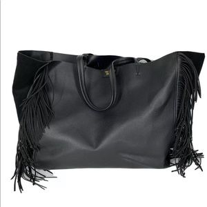 VS Purse Carry On Bag Tote Leather Suede Fringe